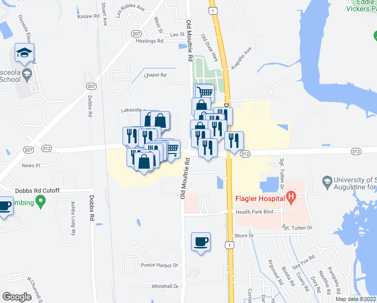 map of restaurants, bars, coffee shops, grocery stores, and more near in St. Johns County