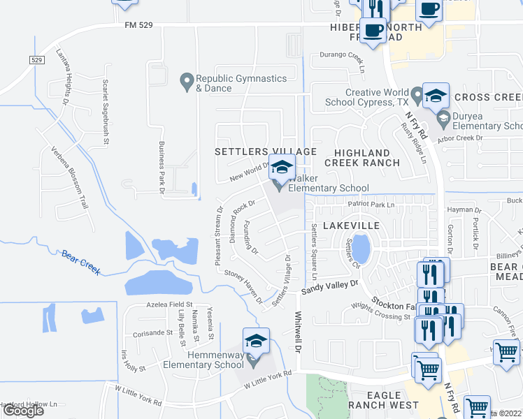 map of restaurants, bars, coffee shops, grocery stores, and more near 6422 Founding Drive in Katy