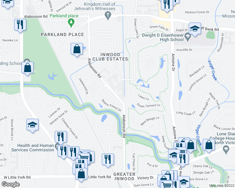 map of restaurants, bars, coffee shops, grocery stores, and more near 7302 Alabonson Road in Houston
