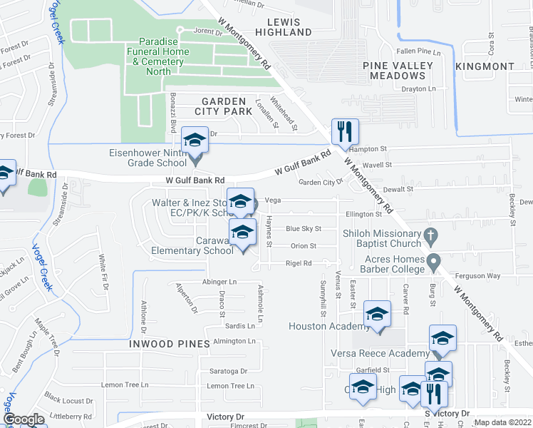 map of restaurants, bars, coffee shops, grocery stores, and more near 2935 Ellington Street in Houston