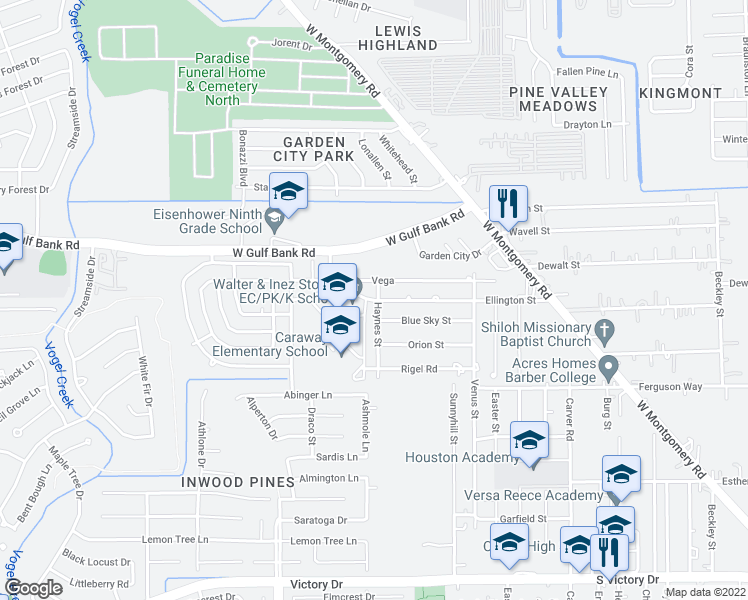 map of restaurants, bars, coffee shops, grocery stores, and more near 3107 Vega Drive in Houston