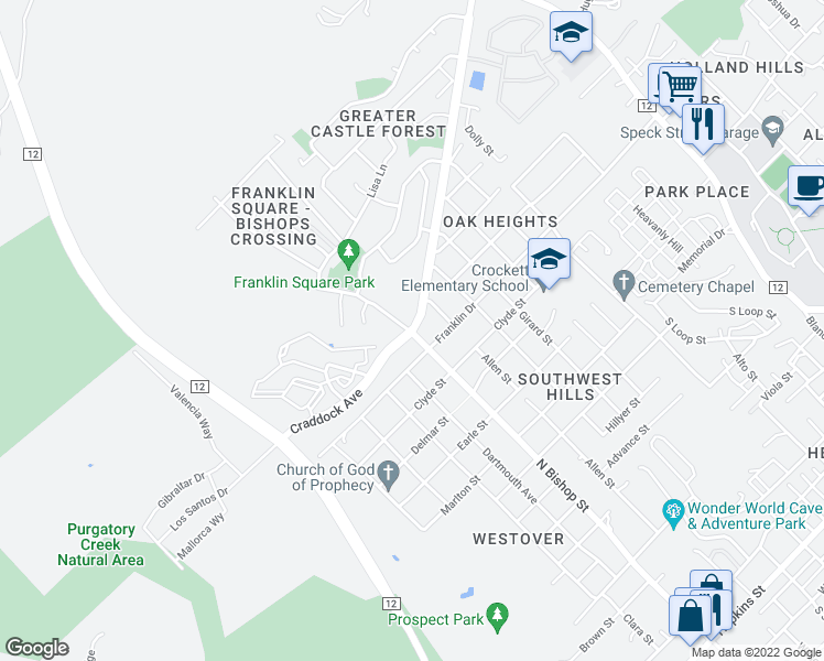 map of restaurants, bars, coffee shops, grocery stores, and more near Craddock Avenue in San Marcos