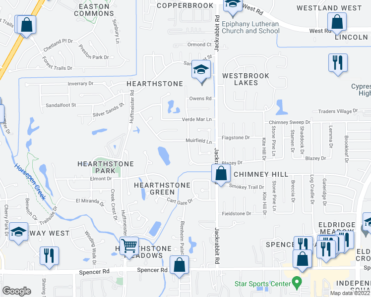 map of restaurants, bars, coffee shops, grocery stores, and more near 7631 Virginia Water Lane in Houston