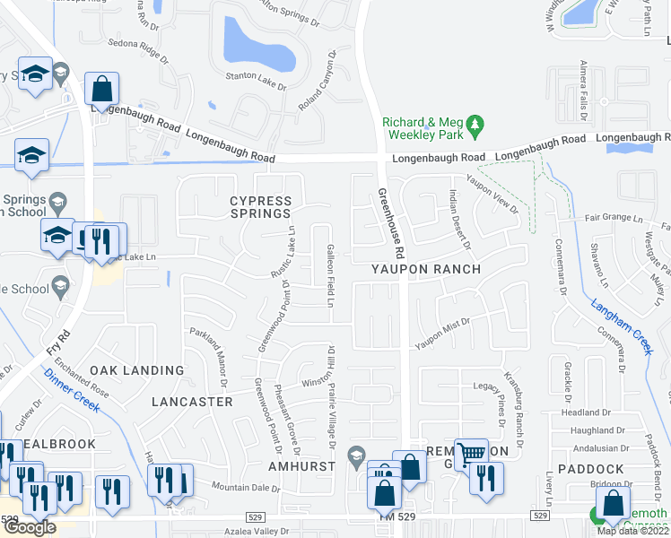 map of restaurants, bars, coffee shops, grocery stores, and more near 7822 Galleon Field Lane in Cypress