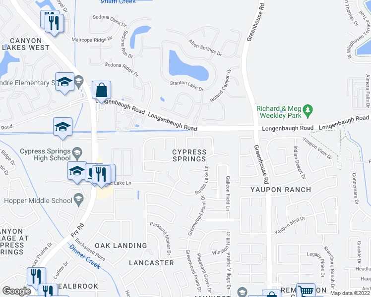 map of restaurants, bars, coffee shops, grocery stores, and more near 7927-7931 Ashland Springs Lane in Cypress