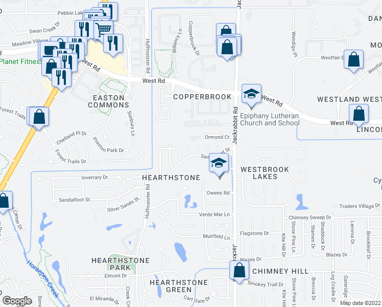 map of restaurants, bars, coffee shops, grocery stores, and more near 8006 Tustin Drive in Houston