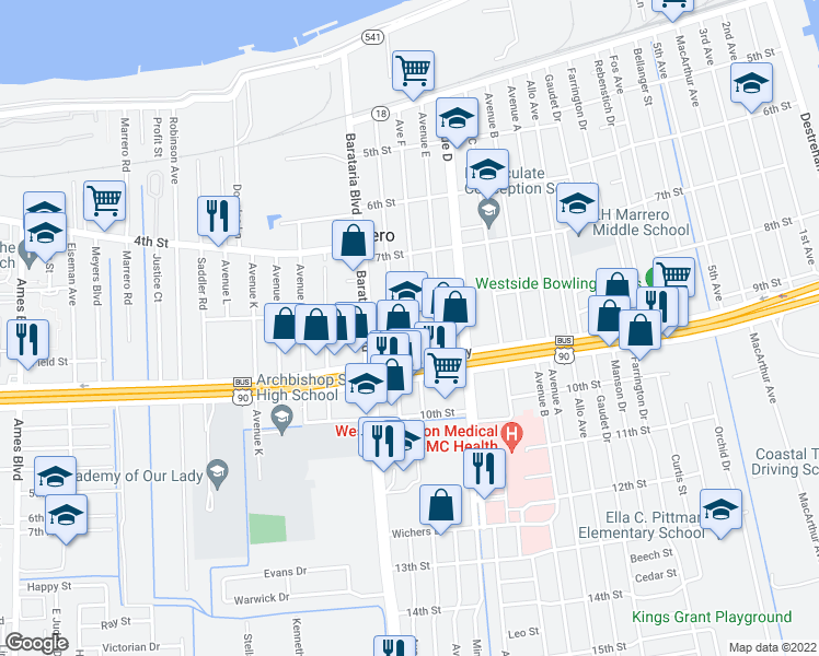 map of restaurants, bars, coffee shops, grocery stores, and more near 821 Avenue G Street in Marrero