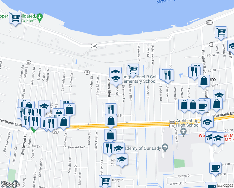 map of restaurants, bars, coffee shops, grocery stores, and more near 453 Pine Street in Marrero