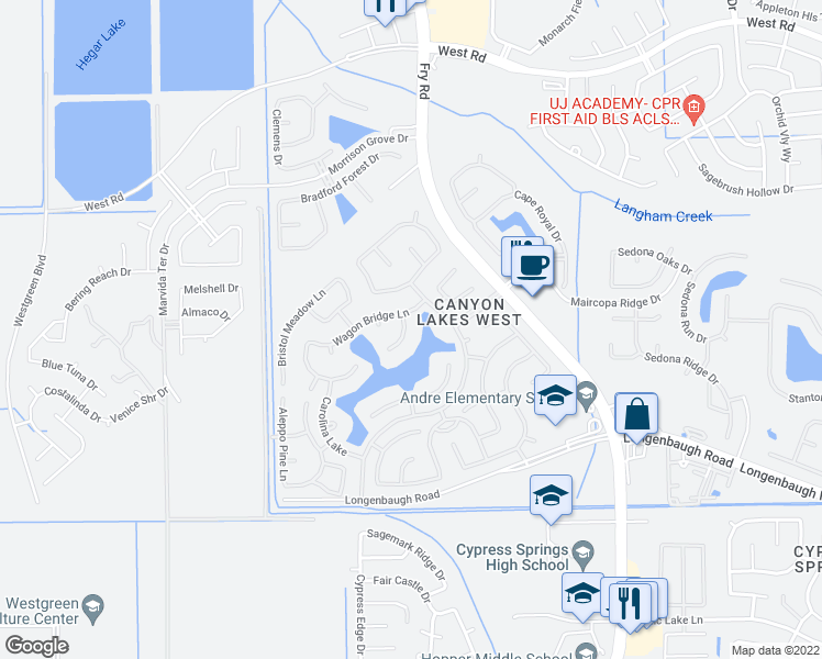 map of restaurants, bars, coffee shops, grocery stores, and more near 8426 Triston Hill Court in Cypress