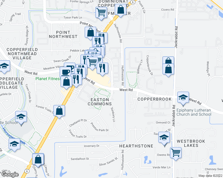 map of restaurants, bars, coffee shops, grocery stores, and more near Easton Commons Drive in Houston