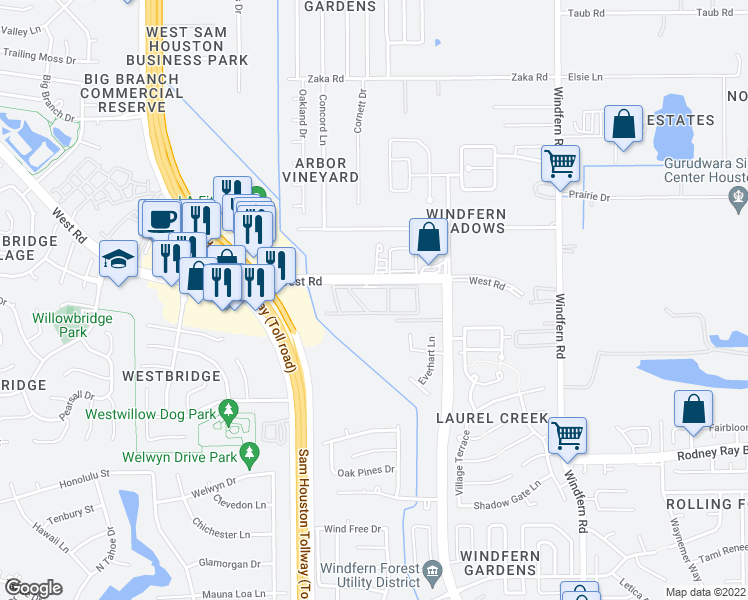map of restaurants, bars, coffee shops, grocery stores, and more near 8989 West Road in Houston
