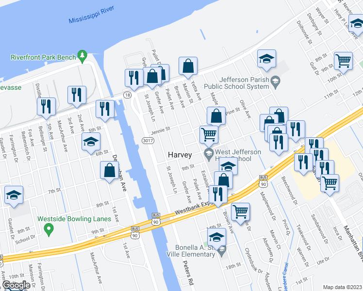 Harvey Louisiana Map.640 Pailet Avenue Harvey La Walk Score