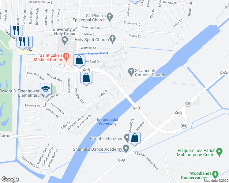 map of restaurants, bars, coffee shops, grocery stores, and more near 6101 Tullis Drive in New Orleans