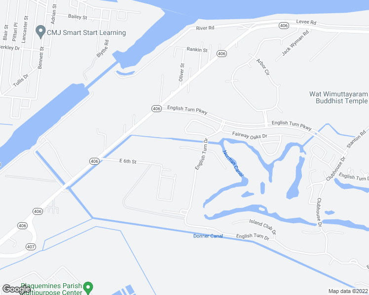 map of restaurants, bars, coffee shops, grocery stores, and more near 119 Pine Valley Drive in New Orleans