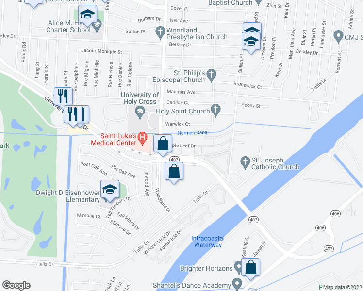 map of restaurants, bars, coffee shops, grocery stores, and more near 4254 Maple Leaf Drive in New Orleans
