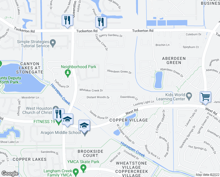 map of restaurants, bars, coffee shops, grocery stores, and more near 16551 Whitaker Creek Drive in Houston