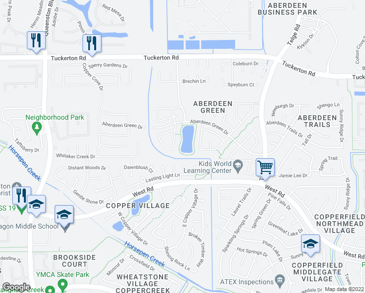 map of restaurants, bars, coffee shops, grocery stores, and more near 7038 Highway 6 North in Houston