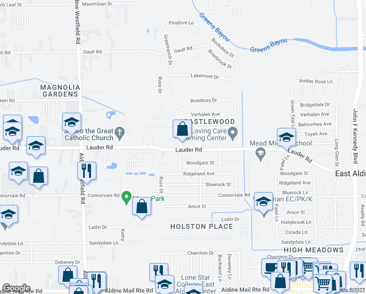 map of restaurants, bars, coffee shops, grocery stores, and more near 2501 Lauder Road in Houston