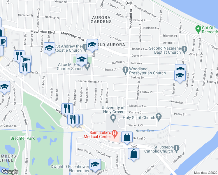 map of restaurants, bars, coffee shops, grocery stores, and more near 3528 Rue Colette in New Orleans
