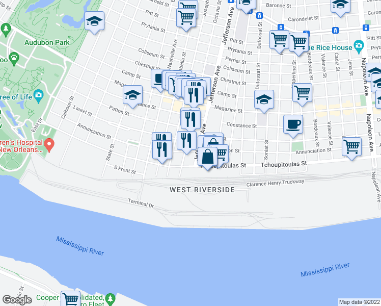 map of restaurants, bars, coffee shops, grocery stores, and more near 5416 Annunciation Street in New Orleans