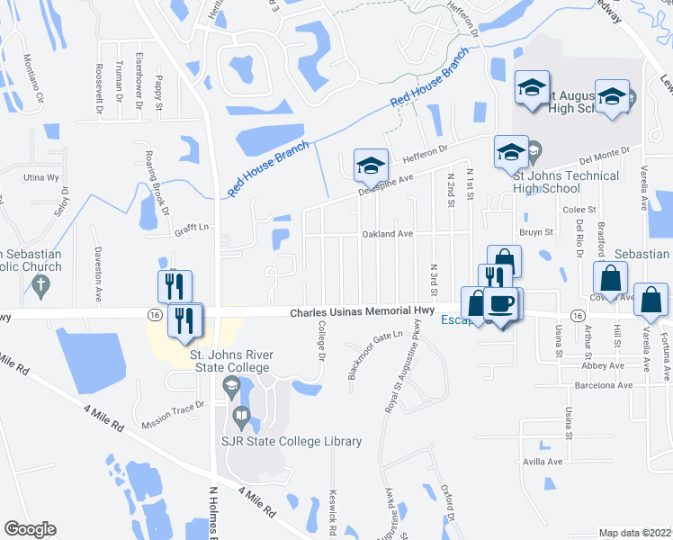 map of restaurants, bars, coffee shops, grocery stores, and more near 2855 North 8th Street in St. Augustine