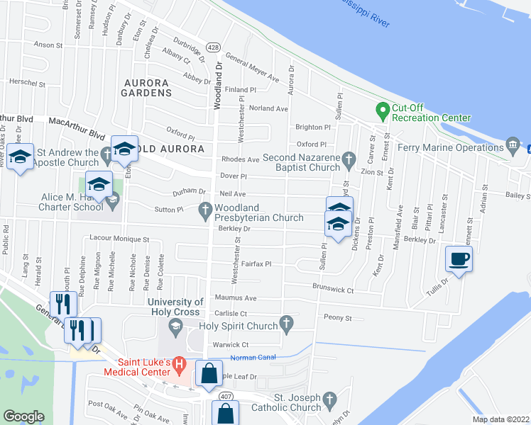 map of restaurants, bars, coffee shops, grocery stores, and more near Cambridge Ct in New Orleans