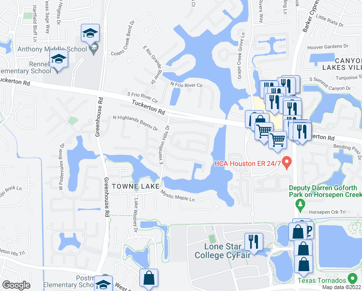 map of restaurants, bars, coffee shops, grocery stores, and more near 9802 Poppy's Point Court in Cypress