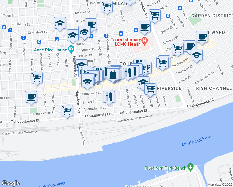 map of restaurants, bars, coffee shops, grocery stores, and more near 3952 Constance Street in New Orleans