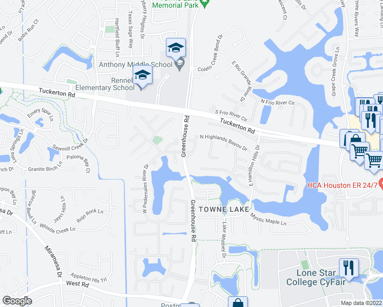 map of restaurants, bars, coffee shops, grocery stores, and more near 9822 Reflection Point Drive in Cypress