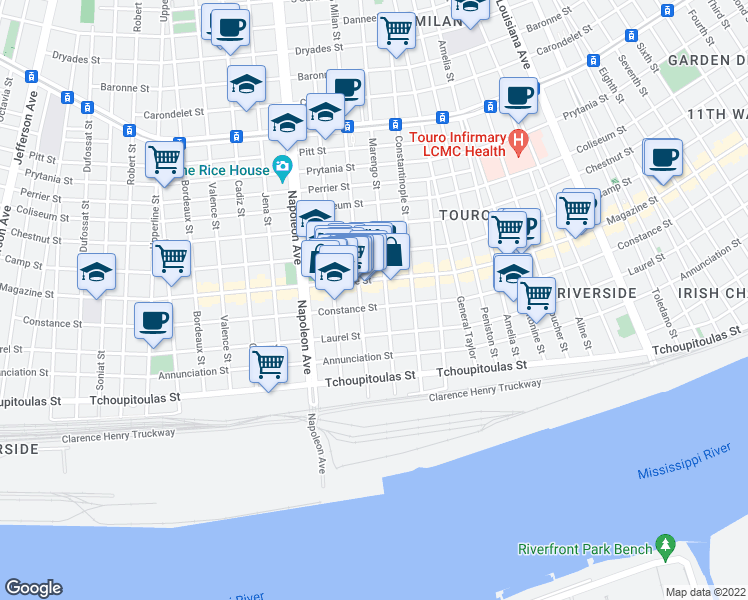 map of restaurants, bars, coffee shops, grocery stores, and more near 4119 Constance Street in New Orleans