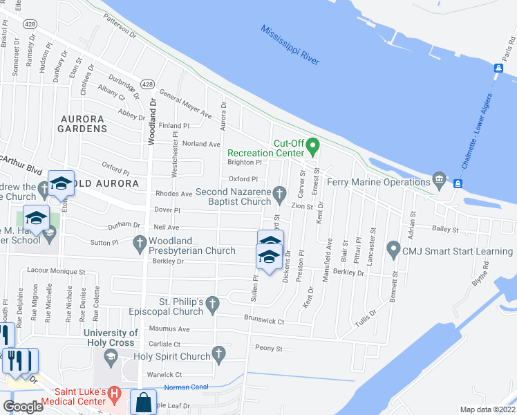 map of restaurants, bars, coffee shops, grocery stores, and more near 3119 Sullen Place in New Orleans