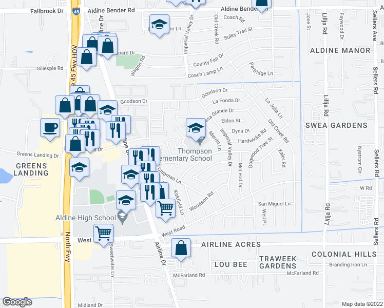 map of restaurants, bars, coffee shops, grocery stores, and more near Hardwicke Rd & Buckle Ln in Houston