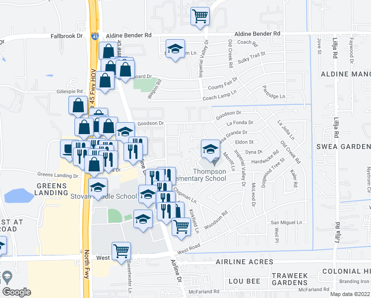 map of restaurants, bars, coffee shops, grocery stores, and more near 15308 Chipman Ln in Houston