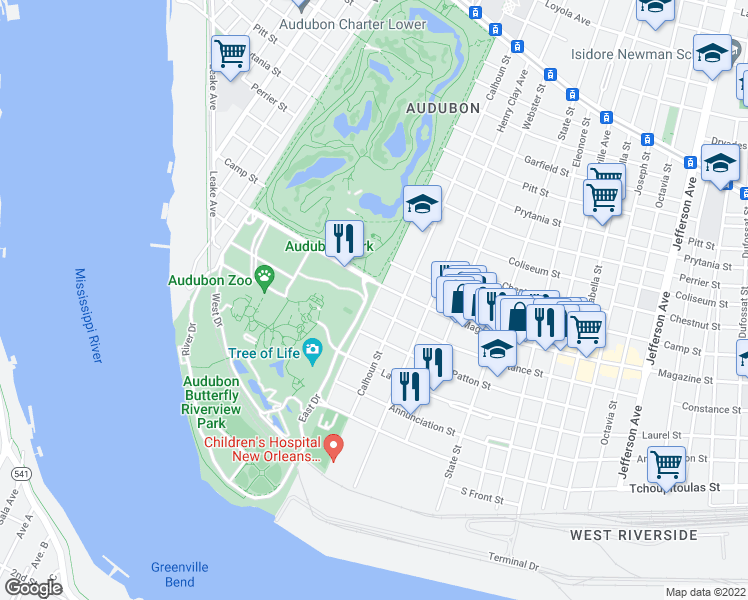 map of restaurants, bars, coffee shops, grocery stores, and more near 6316 Magazine Street in New Orleans
