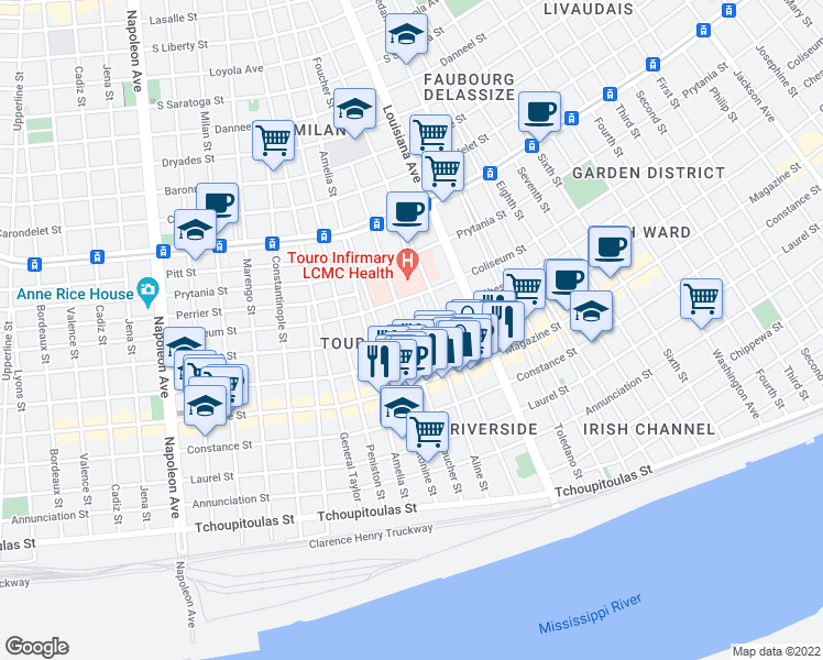 map of restaurants, bars, coffee shops, grocery stores, and more near 3528 Chestnut Street in New Orleans