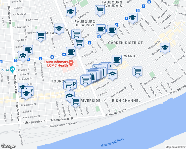 map of restaurants, bars, coffee shops, grocery stores, and more near 3303 Camp St in New Orleans