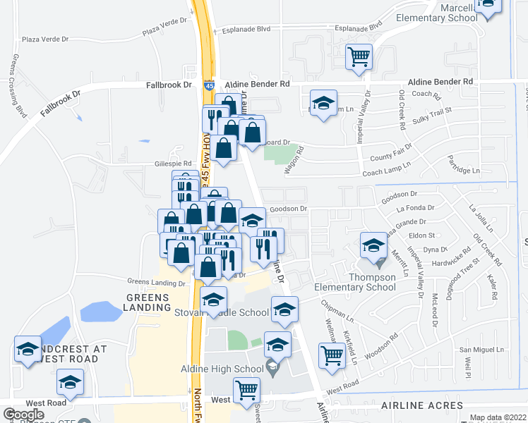 map of restaurants, bars, coffee shops, grocery stores, and more near 11739-11795 Airline Drive in Houston