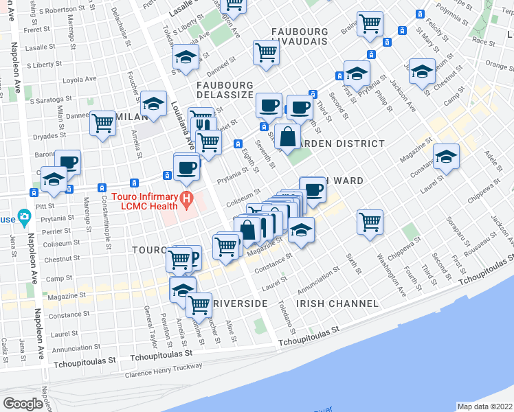 map of restaurants, bars, coffee shops, grocery stores, and more near 3207 Chestnut Street in New Orleans
