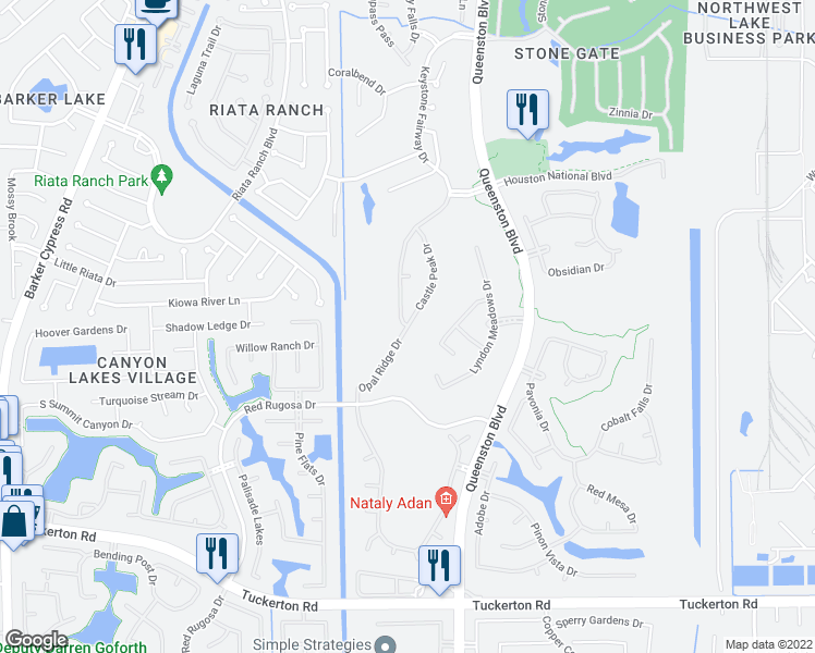 map of restaurants, bars, coffee shops, grocery stores, and more near Opal Ridge Drive in Houston