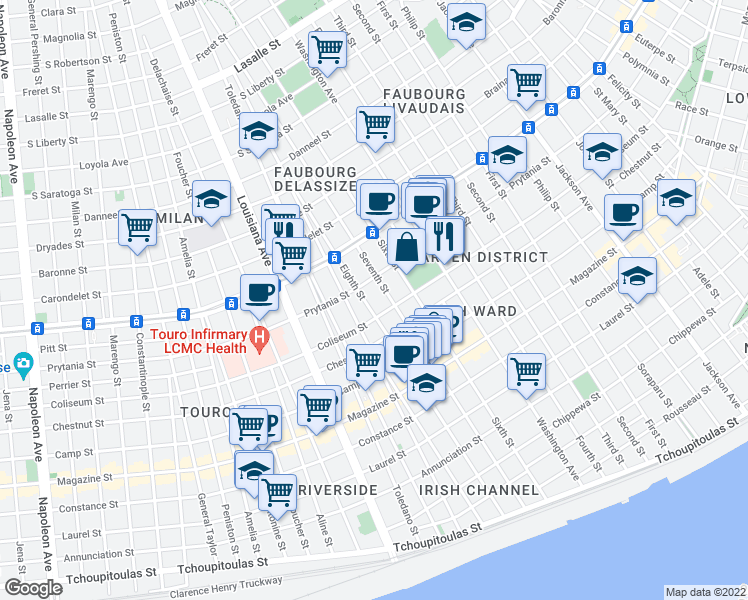 map of restaurants, bars, coffee shops, grocery stores, and more near 1427 8th Street in New Orleans