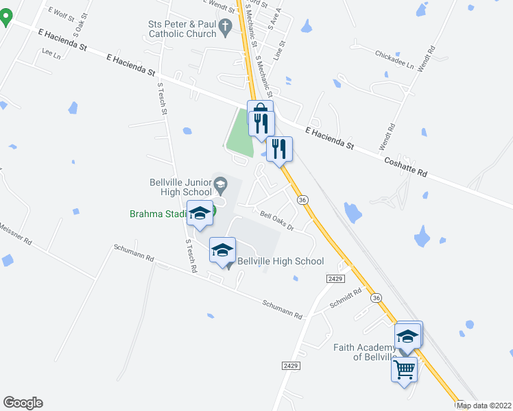 map of restaurants, bars, coffee shops, grocery stores, and more near 746-786 Bending Oaks Drive in Bellville