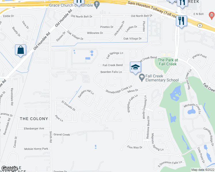 map of restaurants, bars, coffee shops, grocery stores, and more near 7310 Crescent Bridge Court in Humble