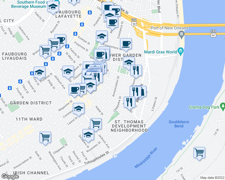 map of restaurants, bars, coffee shops, grocery stores, and more near 913 Felicity Street in New Orleans