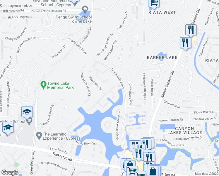 map of restaurants, bars, coffee shops, grocery stores, and more near 18106 Dockside Landing Drive in Cypress