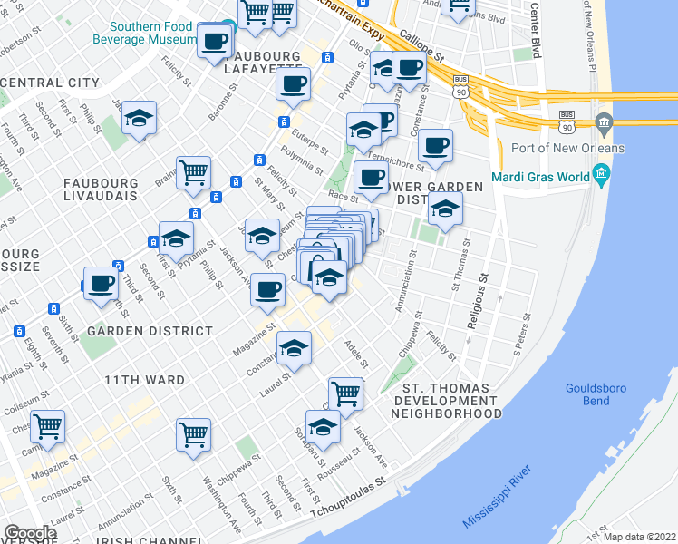 Magazine Street New Orleans Map.Magazine St St Mary St New Orleans La Walk Score