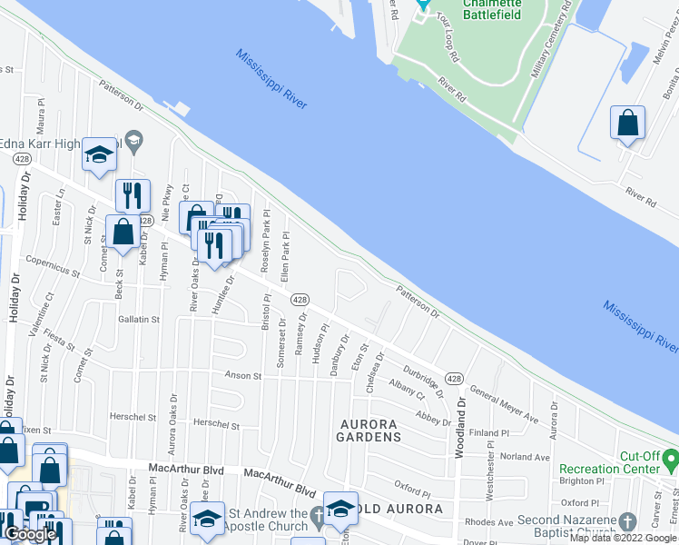 map of restaurants, bars, coffee shops, grocery stores, and more near 2 Navigation Ct in New Orleans