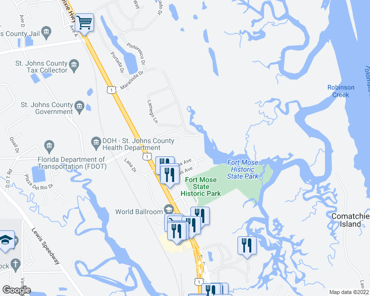 map of restaurants, bars, coffee shops, grocery stores, and more near 1255 Ponce Island Drive in St. Augustine