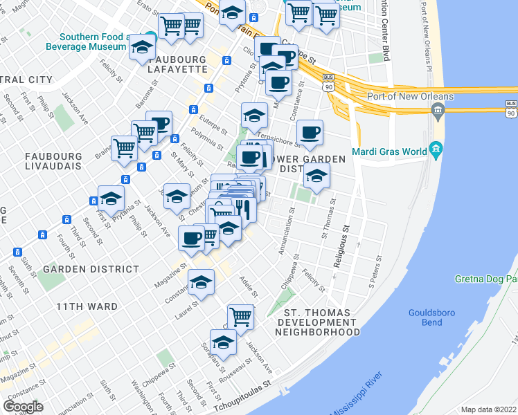 map of restaurants, bars, coffee shops, grocery stores, and more near 1023 Richard Street in New Orleans