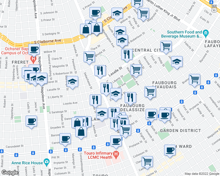 map of restaurants, bars, coffee shops, grocery stores, and more near 2136 Toledano Street in New Orleans