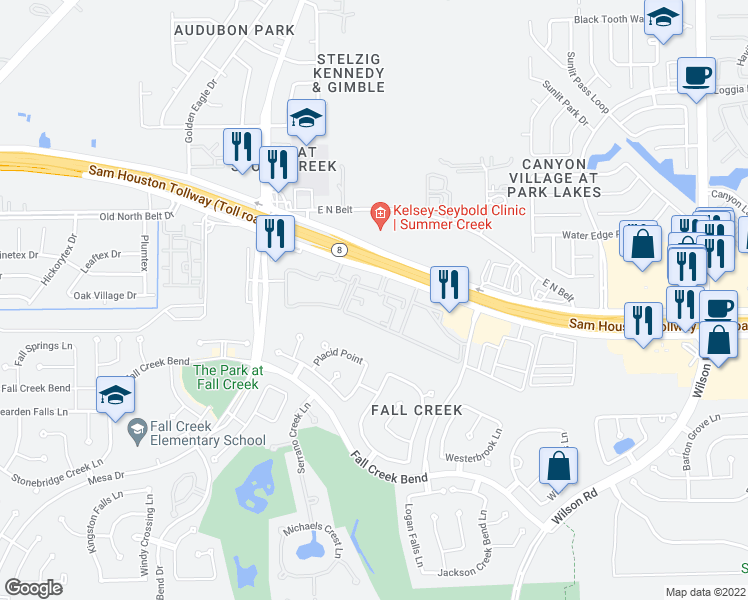 map of restaurants, bars, coffee shops, grocery stores, and more near 8440 North Sam Houston Parkway East in Humble